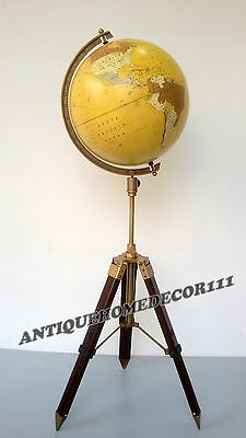 Vintage Antique Replogle Globe World  Classic Series Raised With Tripod Stand