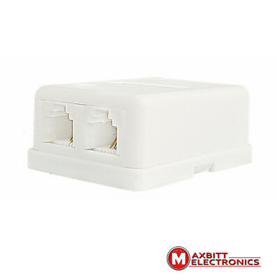 Dual Telephone Surface Wall Mount Phone Jacks Outlet 4Pin RJ11 White