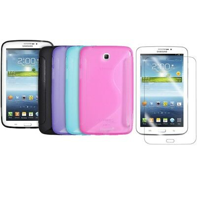 Samsung Galaxy Tab 3 7-inch TPU Rubber Gel Case Cover S-Line + Screen Protector