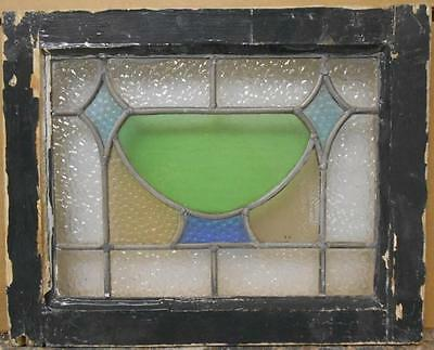 "OLD ENGLISH LEADED STAINED GLASS WINDOW Pretty Geometric Design 19.25"" x 15.25"""