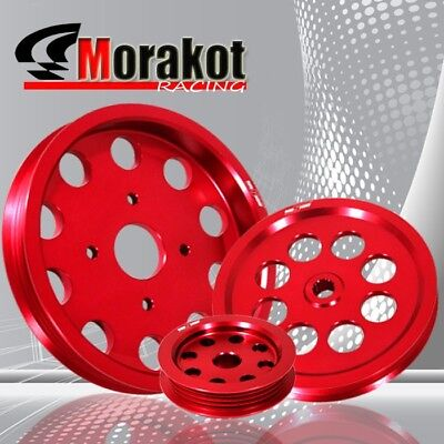 RB20 RB25 RB26 Engine Aluminum Underdrive Performance Crank Pulley Wheel Kit Red