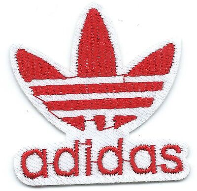 Red on White Adidas Leaf Embroidered Iron-on Patches Art Good Luck Magic
