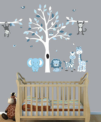 ANIMALS & TREE Wall Stickers, Boys Room Wall Art, Jungle ...