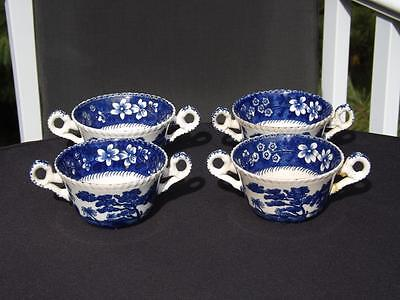 Set 4 Copeland Spode Tower Blue Older Markings Gadroon Bouillon Cups