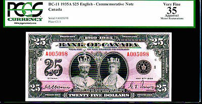 """CANADA BC11  $25 1935  """"KING GEORGE Vth & QUEEN MARY"""" PCGS 35! LOOKS GEM!"""