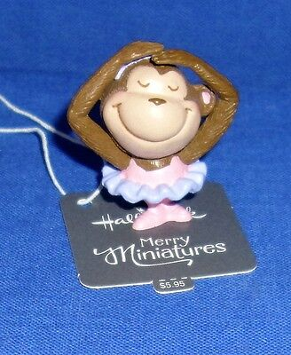 "Hallmark Merry Miniatures Figurine Ballerina Monkey 2016 1-1/2"" High"
