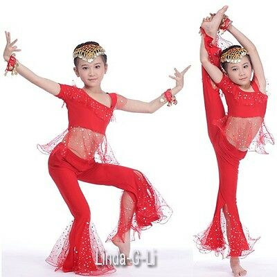 Kids Girls Belly Dance Top+Pants Set Outfit sequins Bollywood Dance Costume