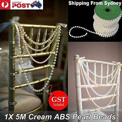 New 5M Cream Pearl Beads String 6mm Garland DIY Wedding Party Trim ABS Decoratio