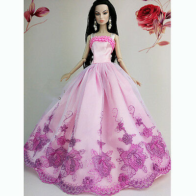 Pink Fashion Wedding Gown Dresses Clothes Outfit Party For Barbie Doll Gift