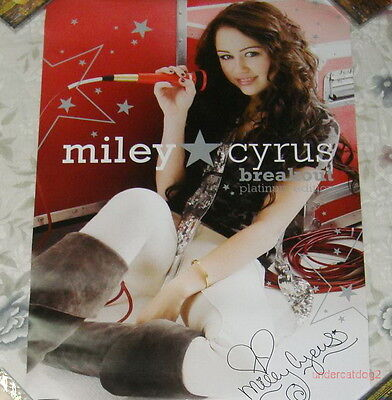 Miley Cyrus Breakout Taiwan Printed Autograph Poster