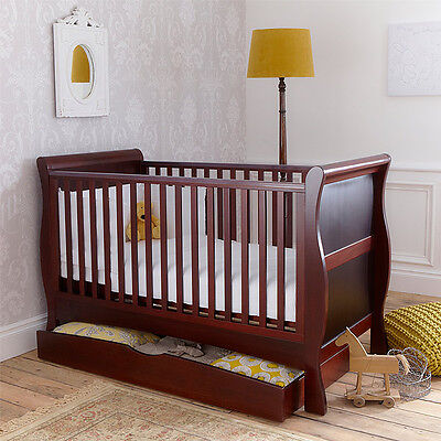 Izziwotnot Bailey Sleigh Cot Bed, Mahogany