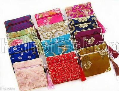 Wholesale 100pcs Chinese Handmade Silk Jewelry &Coin Pouch Wallet Purse Gift Bag