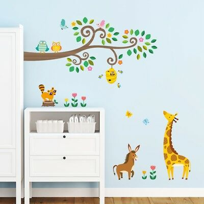 Decowall Animals Tree Nursery Kids Removable Wall Stickers Decal DW-1512N