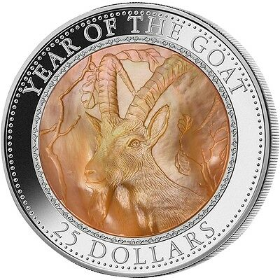 Year of the Goat - Mother of Pearl 5 oz Pure Silver Coin $25 Cook Islands 2015