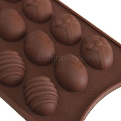 15-Cavity Easter Egg Food Grade Silicone Chocolate Cake Ice Baking Mold Mould