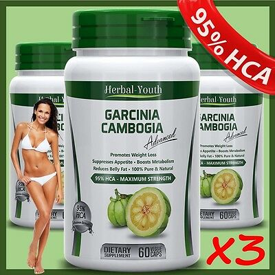 3X BOTTLES 180 Capsules 3000mg Daily GARCINIA CAMBOGIA 95% HCA Weight Loss Pills
