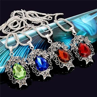 Vintage Pretty Carving Flower Austrian Crystal Necklace Earrings Jewelry Set