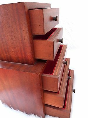 Vintage Jewelry Chest Mahogany Wood  Jewelery Chest Of Drawers Vintage Sampler