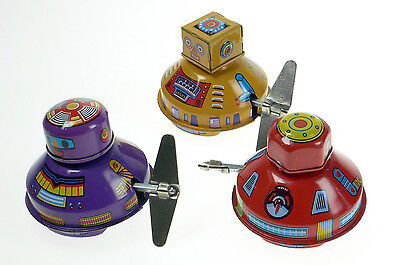 3 x SPACE ROBOT HAHA  TIN TOYS  CLOCKWORK WITH MYSTERY  ACTION COLOURFUL