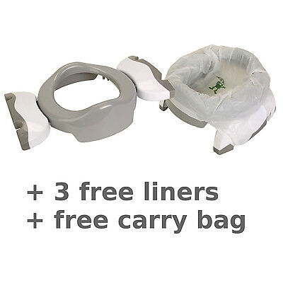 Potette Potty Toilet Trainer Seat Travel Grey White + FREE 3 liners + Carry Bag