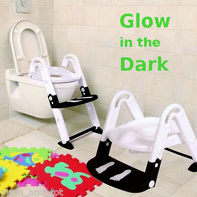 Kids Kit 3 in 1 Toilet Trainer Glow in the Dark Step Up Potty Seat Foldable