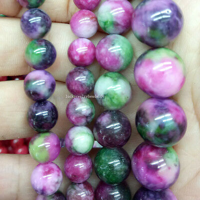 """6~12mm Beautiful Multicolor Jade Ball Round Loose Beads 15.5""""  WFH271"""
