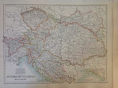 Turkey In Europe - Austro-Hungarian Monarchy Antique Map 1891 Large 2 Sided