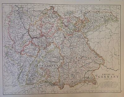 Germany (Empire) 1891 Antique Map, Large 2 Sided Northern and Southern Sections