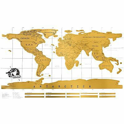 Large Scratch Off World Map Poster Gold White Wallpaper Personalized Travel Gift