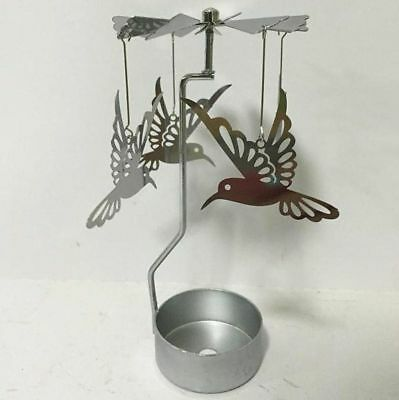 New Metal Humming Bird Tea Light Powered Carousel Spinning Candle Holder S23