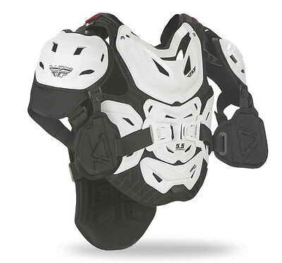 FLY RACING MX Motocross MTB BMX 5.5 Pro Chest/Back Protector (White) Adult