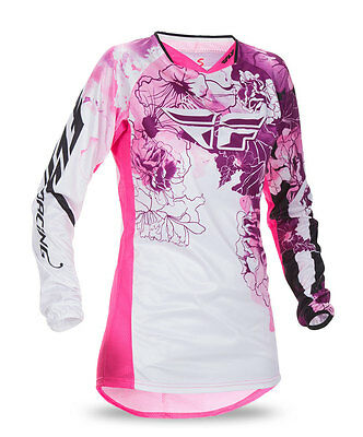FLY RACING MX MTB BMX Girls 2017 Kinetic Jersey (Pink/Purple) YS (Youth Small)