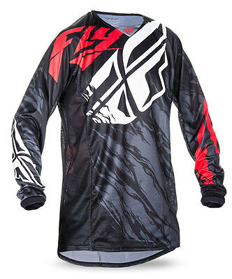 FLY RACING MX Motocross MTB 2017 Kinetic RELAPSE Jersey (Black/Red) Choose Size