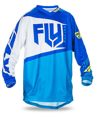 FLY RACING MX Motocross MTB BMX 2017 F-16 Jersey (Blue/Hi-Vis) Choose Size