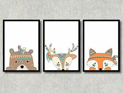 A4 TRIBAL Nursery Prints Woodland Wall Art Modern Cute Room Decor Illustration