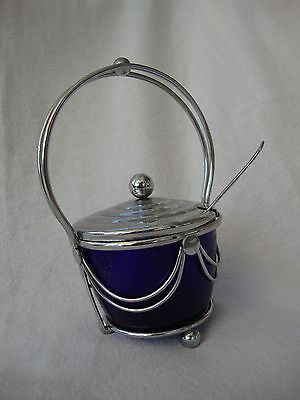A Good Vintage 1950's Chrome & Blue Glass Liner Sugar / Preserve Bowl With Spoon
