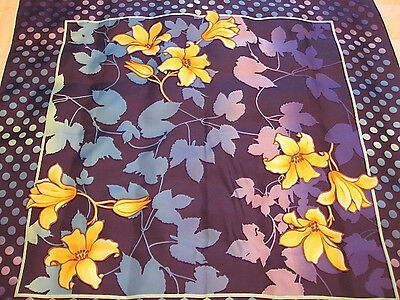 """BYBLOS ART SCARF PURE SILK made in ITALY BLUE LILY FLORAL 35""""x 35"""""""