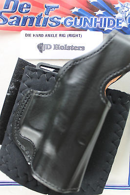 DeSantis Die Hard Ankle Rig Leather Holster Glock 43 Right Hand