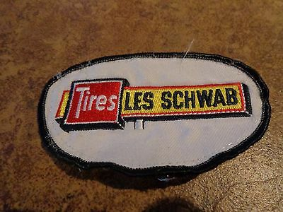 Les Schwab White Embroidery Patch Advertising, Collectors Nice!