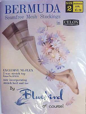 "Bluebird Bermuda Size 9 1/2"" to 10"" Vintage RHT Nylon Stockings in two shades"