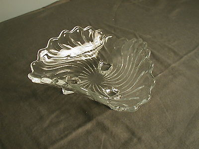 "Vintage Fostoria Glass 3 Sided Fruit Dish - Colony - 3 Feet - 6 1/2"" X 3"""