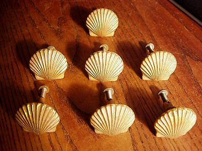 Lot of 7 Vintage Brass Plated  SCALLOP SHELL Drawer Pulls
