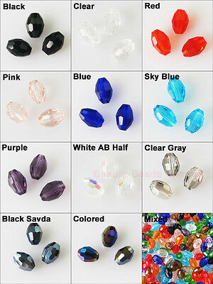 4mm 6mm Faceted Rice Oval Glass Crystal Rondelle Spacer Beads Charms