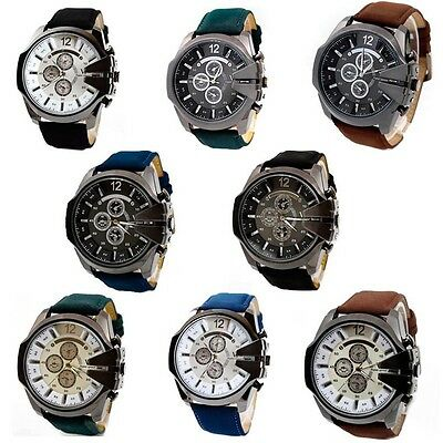 Luxury Men's Military Army Sport Watch 3 Eyes Analog Quartz Dial Leather Watches
