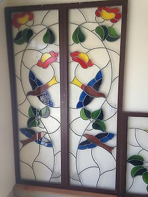 Stained Glass Door Panels in Art Nouveau Style