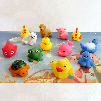 Cute 13Pcs Mixed Animals Float Squeeze Sound Baby Wash Bath Play Toys