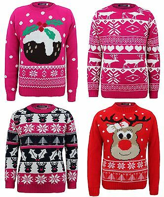Kids Knitted Reindeer Pudding Christmas Tree Xmas Novelty Heart Jumper Top 3-14