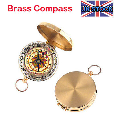 New Traditional Design Brass Metal Pocket Watch Classic Style Compass Camping UK