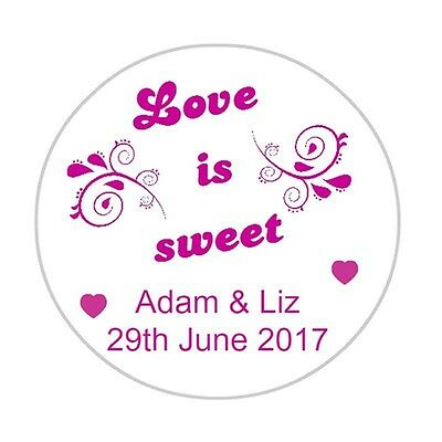 Wedding Favour Labels Love Is Sweet Favor Stickers Treat Personalised
