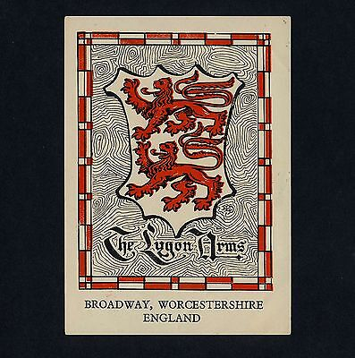 The Lygon Arms Hotel BROADWAY Worcs England * Old Luggage Label Kofferaufkleber